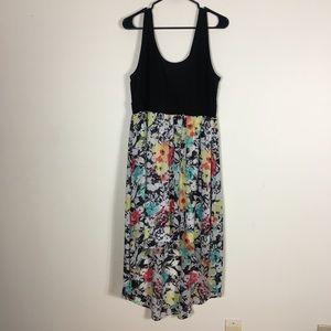 Torrid Black & Floral Patterned High-Low Dress